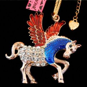 Winged Pegasus Red, Blue,Clear Rhinestone Necklace